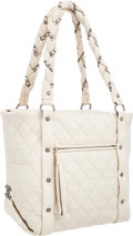 """Luxury Accessories:Bags, Chanel White Distressed Lambskin Leather Lady Braid Tote Bag.Very Good Condition. 11"""" Width x 11.5"""" Height x 4.5""""Dep..."""