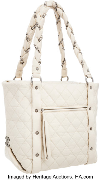 Chanel White Distressed Lambskin Leather Lady Braid Tote Bag. Very ... 0b2040e74a2cf
