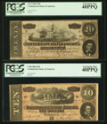 Confederate Notes:1864 Issues, T67 $20 1864 PF-24 Cr. 524. T68 $10 1864 PF-20 Cr. 546.. ... (Total: 2 notes)