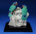 Lapidary Art:Carvings, AMAZONITE PARROT COUPLE on ALBITE BASE. Artist: PeterMüller. Stone Source: Brazil, South Africa &Worldwide. ... (Total: 3 Items)