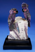 Lapidary Art:Carvings, SUGILITE COCKATOO COUPLE on PARAIBA TOURMALINE BASE. Artist:Peter Müller. Stone Source: Brazil & South Africa.... (Total: 3 Items)