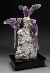 IMPRESSIVE TRIO OF AMETHYST MACAWS on IMPOSING ALBITE BASE Artist: Peter Müller Stone Source: B