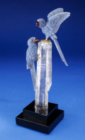 Lapidary Art:Carvings, BLUE CHALCEDONY MACAW COUPLE on QUARTZ CRYSTAL BASE. Artist:Peter Müller. Stone Source: Brazil & Worldwide. ...(Total: 3 Items)