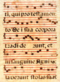 Books:Prints & Leaves, Antiphonal Manuscript Leaf on Vellum. Ca. 1500s. Large leaf from achoir book or antiphoner containing 5 bars of music on ea...