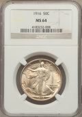 Walking Liberty Half Dollars: , 1916 50C MS64 NGC. NGC Census: (326/219). PCGS Population(418/313). Mintage: 608,000. Numismedia Wsl. Price for problemfr...