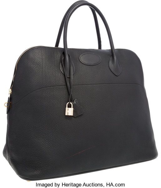 a878c41705fb Hermes 45cm Black Clemence Leather Travel Mou Bolide Bag with
