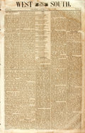 Books:Periodicals, [Negro Reconstruction]. [Newspaper]. West and South. 1868. 8pages, disbound. Some toning. Very light dampstaining t...