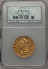 1878-S $10 -- Improperly Cleaned -- NCS. XF Details. NGC Census: (29/161). PCGS Population (42/74). Mintage: 26,100. Num...