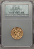 Liberty Half Eagles: , 1878-S $5 -- Improperly Cleaned -- NCS. AU Details. NGC Census: (28/402). PCGS Population (16/159). Mintage: 144,700. Numis...