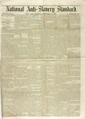 Books:Periodicals, [Anti-Slavery] [Newspaper]. National Anti-Slavery Standard.1855. Two integral leaves with two folding creases. Some...
