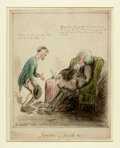 Books:Original Art, [Original Art]. George Woodward (English caricaturist, 1760-1809).Original SIGNED Ink and Watercolor, Symptoms of Suici...