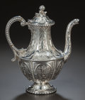 Silver Holloware, American:Other , AN ENGLISH SILVER COFFEE POT, possibly by Hawksworth, Eyre &Co, Sheffield, England, 19th century. Marks: CH & JE .11 i...
