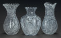 Art Glass:Other , THREE CUT-GLASS VASES, 20th century. 12 inches high (30.5 cm)(tallest). ... (Total: 3 Items)