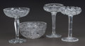 Art Glass:Other , THREE CUT-GLASS COMPOTES AND ONE CUT-GLASS BOWL, 20th century.8-1/8 inches high (20.6 cm) (tallest compote). ... (Total: 4 Items)