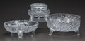 Art Glass:Other , TWO CUT-GLASS FOOTED BOWLS AND ONE CUT-GLASS FOOTED COVERED POWDERJAR, 20th century. 7-3/4 inches diameter (19.7 cm) (large...(Total: 3 Items)