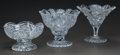 Art Glass:Other , THREE FOOTED CUT-GLASS BOWLS, 20th century. 7-7/8 inches high (20.0cm) (tallest). ... (Total: 3 Items)