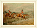 Books:Original Art, [Original Art]. Henry Alken (English artist, 1785-1851). OriginalInk and Watercolor of Two Horses Jumping over Fence and Stre...