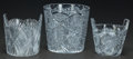 Art Glass:Other , THREE CUT GLASS ICE BUCKETS, 20th century. 6-7/8 inches high (17.5cm) (largest). ... (Total: 3 Items)