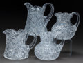 Art Glass:Other , FOUR CUT-GLASS WATER PITCHERS, 20th century. 7-3/4 inches high(19.7 cm) (tallest). ... (Total: 4 Items)