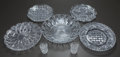 Glass, FIVE ROUND CUT-GLASS PLATTERS, ONE ROUND CUT-GLASS BOWL AND TWO CUT-GLASS SHOT GLASSES, 20th century. 12-1/8 inches (30.8 cm... (Total: 7 Items)