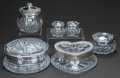 Art Glass:Other , SIX CUT-GLASS AND SILVER VANITY BOXES, 20th century. 3 inches highx 6 inches diameter (7.6 x 15.2 cm) (large round box). ... (Total:6 Items)