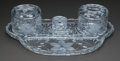 Art Glass:Other , A FOUR PIECE CUT-GLASS VANITY SET, 20th century. 14-1/2 inches wide(36.8 cm) (tray). ... (Total: 4 Items)