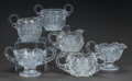 Art Glass:Other , THREE CUT-GLASS CREAMER AND SUGAR SETS, 20th century. 3-3/4 incheshigh (9.5 cm) (tallest sugar). ... (Total: 6 Items)