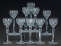 Art Glass:Other , TEN CUT-GLASS WINE STEMS, 20th century. 9 inches high (22.9 cm).... (Total: 10 Items)