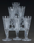 Art Glass:Other , A SET OF SIX CUT-GLASS CHAMPAGNE FLUTES, 20th century. 6-5/8 incheshigh (16.8 cm). ... (Total: 6 Items)