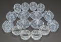 Art Glass:Other , FOUR SETS OF FOUR CUT-GLASS OPEN SALTS, 20th century. 2-3/4 inchesdiameter (7.0 cm) (largest round). ... (Total: 16 Items)