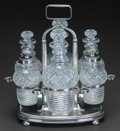 Art Glass:Other , A SILVER CRUET STAND WITH SIX CUT-GLASS BOTTLES, Arnhem,Netherlands, circa 1830. Marks: DLE-star (in diamond), lionram... (Total: 7 Items)