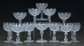 Art Glass:Other , TWO SETS OF SIX STEMMED GLASSES, 20th century. 4-3/4 inches high(12.1 cm). ... (Total: 12 Items)