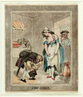 "Books:Prints & Leaves, Thomas Rowlandson (English artist, 1756-1827). OriginalHand-Colored Engraving, New Shoes. 1793. Measures 8.25"" x10..."