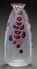 Art Glass:Other , MONT JOYE ENAMELED GLASS VASE. Circa 1925. 10-5/8 inches high (27.0cm). ...