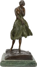 Sculpture, A FRENCH PATINATED BRONZE FIGURE ON MARBLE BASE, After Louis Icart, 20th century. Marks: Louis Icart, Editions Paris, L' O...