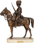 Bronze:European, AN EQUESTRIAN BRONZE OF A HUSSAR AFTER A DE GÉRICKÉ, 20th century.Marks: A DE GÉRICKÉ, BEAUX-ARTS. 17 inches high (...