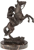 Bronze:American, AN AMERICAN EQUESTRIAN BRONZE ON MARBLE BASE AFTER CARL KAUBA, 20th century. Marks: Kauba. 8-1/4 inches high (21.0 cm). ...