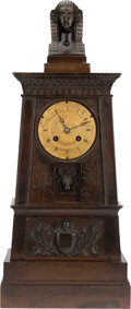 Bronze:European, A FRENCH EGYPTIAN REVIVAL BRONZE MANTLE CLOCK, Ledure Bronzier,Paris, France, late 19th century. Marks: LEDURE BRONZIER,...