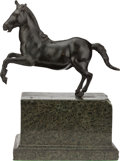 Bronze:European, A RENAISSANCE STYLE BRONZE FIGURE OF A HORSE, late 19th century. 12 x 9-3/4 x 5-1/4 inches (30.5 x 24.8 x 13.3 cm). ...