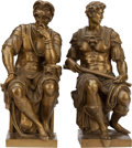 Bronze:European, A PAIR OF GILT BRONZE FIGURES AFTER MICHELANGELO, 19th century.Marks: reduction sauvage. 15-1/2 inches high (39.4 cm). ...(Total: 2 Items)