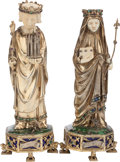 Silver & Vertu:Smalls & Jewelry, A PAIR OF AUSTRIAN SILVER, IVORY AND ENAMEL FIGURES OF SAINTS, 19th century. Marks: 980, (crown), 12. 7-1/8 inches h... (Total: 2 Items)