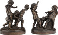 Bronze:European, A PAIR OF FRENCH PATINATED BRONZE FIGURAL GROUPS, 20th century. 9-1/8 inches high (23.2 cm) (tallest). ... (Total: 2 Items)