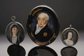 Decorative Arts, Continental:Other , Three Ivory Portrait Miniatures. Nineteenth Century. Comprising alarger oval portrait of a gentleman in a faux tortoi... (Total: 3Items)