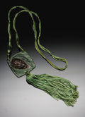 Estate Jewelry:Necklaces, An Argy Rousse Patte-De-Verre Pendant Necklace C. 1915. The squareform in shades of green glass molded with a pine cone sus...