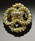 Estate Jewelry:Brooches - Pins, An 18K Gold Tiffany & Co. Brooch Accented With Diamonds. TheYellow gold brooch weighing 40.2 gms. Marked Tiffany &Co....