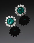 Estate Jewelry:Earrings, Ladies 18K White Gold, Diamond and Emerald Earrings. The pair of18K white gold earrings with screw type post and backs we...(Total: 2 Items)