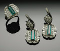 Estate Jewelry:Rings, A Ladies 18K White Gold Fancy Ring And Earrings With Emeralds AndDiamonds. The set weighing 17.7 gms, 18K white gold.Mou... (Total:3 Items)