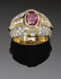 Estate Jewelry:Rings, A Ladies 14K Yellow Gold Fashion Ring With Ruby And Diamonds. Theband weighing 13 grams mounted with an oval faceted ruby...