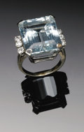 Estate Jewelry:Rings, Ladies 14K White Gold Fashion Ring Centered With An Emerald Cut Aquamarine With Six Round Full Cut Diamonds As Accents. The ...