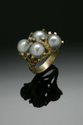 Estate Jewelry:Rings, A Ladies 18K Gold Fashion Ring Set With Gray Baroque CulturedPearls And Diamonds. The yellow gold band weighing 20.4 gms....